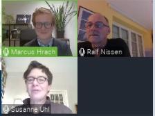 Ralf Nissen, Marcus Hrach, Susanne Uhl in der online-Veranstaltung